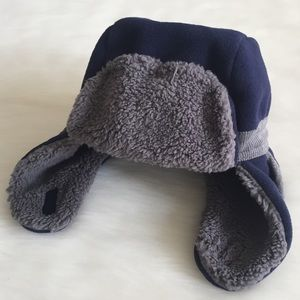 Baby Gap Navy & Gray Fleece Trapper Hat